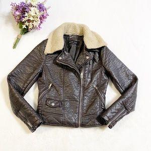 Black Rivet Brown Motorcycle Leather Jacket, SZ XS